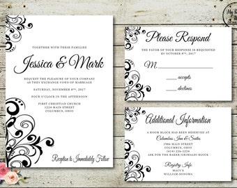 BLACK and WHITE Wedding Invitation - Digital