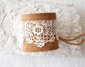 Tan Suede Embroidery Cuff Bracelet/Wide Leather Cuff/Rustic Romantic/Boho Chic Chunky Statement/Leather and Lace Cuff/Western/Boho/Crochet