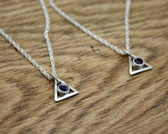 Spinel Silver Triangle Necklace, Geometric Pendant, One of a Kind, Ready to Ship, 16 inch Spiga Chain, Recycled, Eco, Ethical, OOAK
