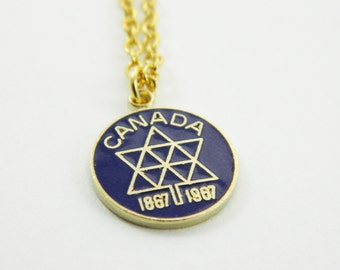 Canadian Centennial Necklace - Canada 150 Necklace in Navy