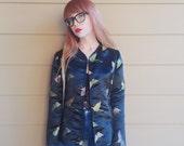 Satin Embroidered Butterflies Blazer Kimono Jacket // Women's size Small S