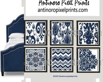Art Ikat Damask Sapphire Blue Navy Indigo Blues White Prints, Set of (6)  Prints, Custom Colors Sizes Available #497209334