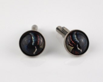 Round Butterfly Wing Design Cufflinks Circles Cuff Links Silver Tone Metal