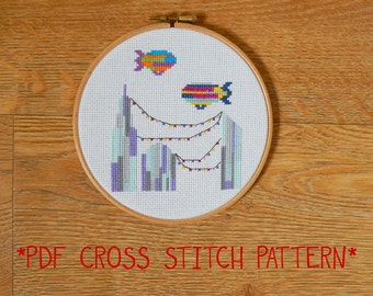 Colourful City Skyline with Blimps cross stitch pattern - counted cross stitch, printable PDF