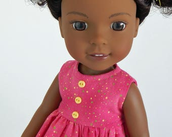 14.5 inch doll Wellie Wishers Clothes-Pink Dot Sleeveless Dress