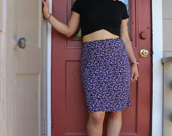 90s blue and purple flowers mini skirt size s/m