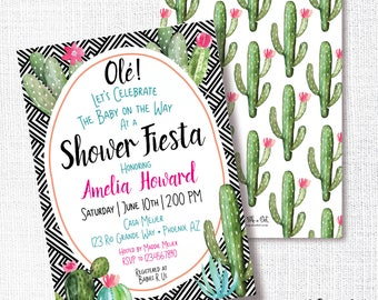 Cactus Fiesta Shower Invitation, Printable, Baby Shower Invite, Fetus Fiesta, Mexican, Bohemian, Boho Chic, Global Style, Modern