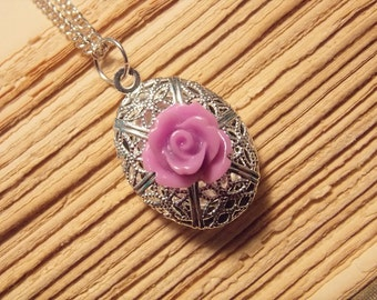 Purple and Silver Rose Locket