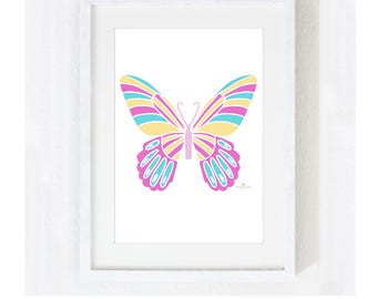 "Illustration Art Print ""Butterfly"" / Nature Garden / Animal Home Decor / Nursery Baby Shower Gift / Unique Print at Home Artwork"