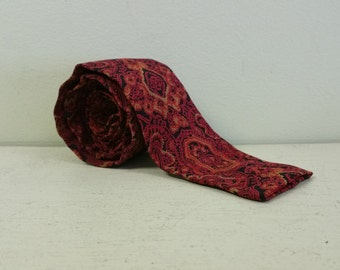 1960s Square Bottom Tie - Rooster Brand Tie - Vintage 60s Tie - Red Gold & Black