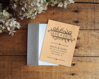 Save the Date, Kraft Paper Save the Date, Rustic Save the Date, Floral Save the Date, Doodles, Illustrations, Printable Save the Date