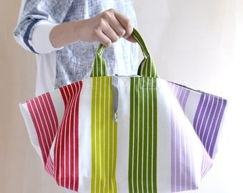Simple top handle bag. Rainbow stripe market tote. Style148R. Ready to ship