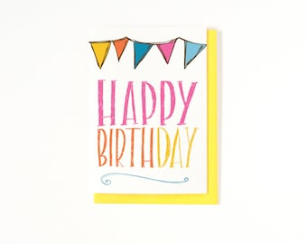 Happy Birthday Card - Bday Card - Bunting - Birthday Greeting Card - Card for Friend - Best Friend Birthday Card - Hand-lettering