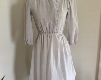 Gorgeous Pale Blue Gray Shimmer Dress with Mandarin Collar Puff Sleeves XS S