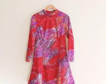 Vintage Mock Neck Psychedelic Print Dress/ Fit & Flare Dress / Red Dress / Mod Dress  - 1960s