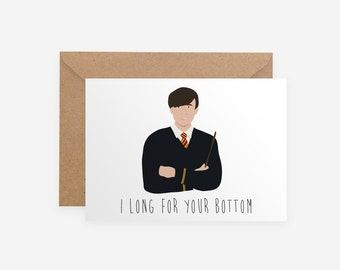 Neville Longbottom Pun Funny Harry Potter Butt Sexy Unique Geeky Nerdy JK Rowling Valentine Card