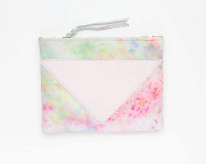 Cotton pouch-leather pouch-hand colored-tie dye-pink green pastel-make up bag-cosmetic purse-small leather purse-zipper pouch /SPLASH 70