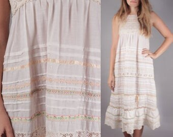 60s Boho Ivory Crochet Sleeveless Summer Maxi Dress
