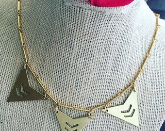 Necklace. Handmade jewelry. Brass Geometric Necklace. Gold necklace. Modern. Chic. Sugarplum Gallery.