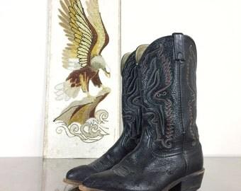 Cowboy Boots - Vintage Black Boot - Mens Size 9