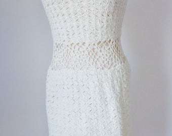 Vtg 70s/80s Off White CROCHET PEEK-A-BOO Festival Dress, Small to Medium