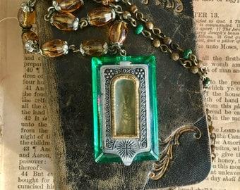 Pocket Shrine with The Virgin Mary and Child Necklace