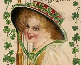 St Patrick's Day Girl with Harp and Shamrocks, Instant Digital Download, Erin Go Bragh, Irish Music Celebration