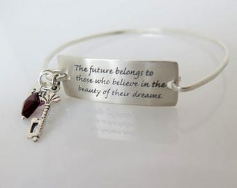 Graduation Bracelet, The Future Belongs Quote Bracelet, Eleanor Roosevelt Bracelet, Graduation Gift, Sterling Silver Bangle Bracelet