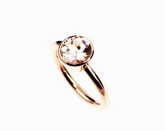 SIZE 6, Morganite solitaire engagement ring made from rose gold, bezel, unique, morganite ring, simple, peach morganite, rose