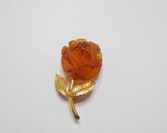 """Vintage """"Amber Guild"""" 12KGF Celluloid Rose Brooch (3443)"""