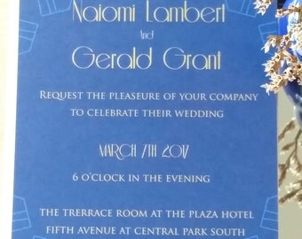 Modern Gatsby blue wedding invitation-digital, digital art deco wedding invitation, digital blue and gold wedding invitation, downloadable