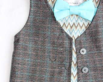 The Tanner Boys Grey Plaid Vest, Toddlers, Ring Bearer, Grey with Turquoise plaid Vest for Boys, Boys Wedding Vest, Classic  Wedding