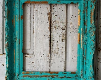 Distressed picture frame wall hanging ornate turquoise wooden shabby cottage chic vintage aqua blue frame display decor anita spero design