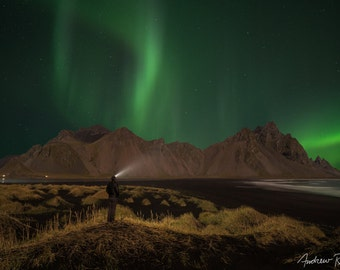 Aurora Borealis Photograph - Iceland, Vestrahorn Mountain - Northern Lights Print, Stokksnes, Astrophotography, Night Sky Photo, Green