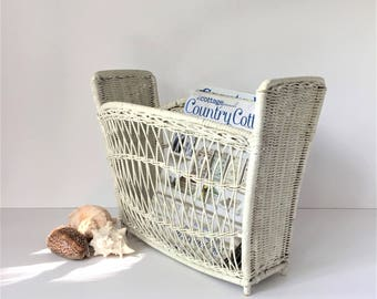 Wicker Magazine Rack, Vintage White Basket, Magazine Storage, Woven Wicker Basket, Beach Coastal Decor, Modern Farmhouse