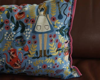Organic Lumbar Pillow in blue Alice in Wonderland || Felt detailing hand stitched || canvas fabric || down alternative