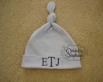 Custom personalized monogrammed navy on blue newborn baby boy hat with knot