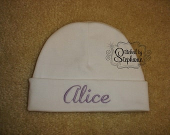Custom personalized monogrammed personalized name purple on white newborn baby girl hat