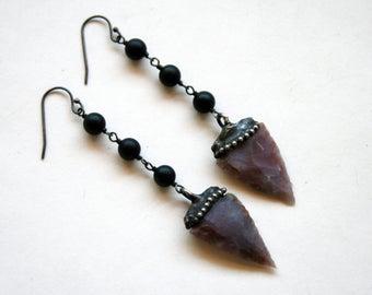 Agate Arrowhead Crystal Long Drop Earrings // Peach Agate Arrow Point Dangle Earrings