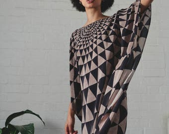 Triangle Print Silk Kaftan