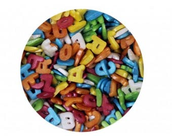 Alphabet Letters Confetti Sprinkles for cake, cupcake, & cookie decorating