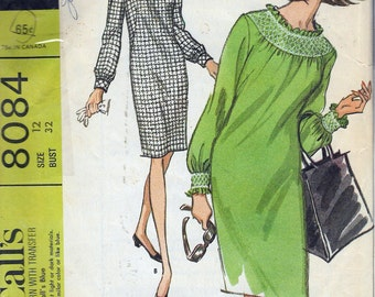 Vintage 1965 McCall's 8084 Mod Dress in Two Versions With Transfer for Smoking Sewing Pattern Size 12 Bust 32""
