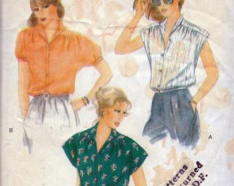"""Vintage 1979 Vogue 7321 Misses Blouses Sewing Pattern Size 12 Bust 34"""" UNCUT"""