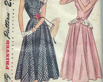 Vintage 1948 Simplicity 2357 One-Piece Dress with Detachable Peplum Sewing Pattern Size 13 Bust 31""
