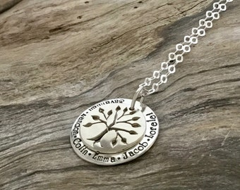 Silver Family Tree Necklace|Silver Tree of Life Necklace|Mother's Necklace|Sterling Silver Grandmother's Necklace|Tree of Life|Mother's Gift