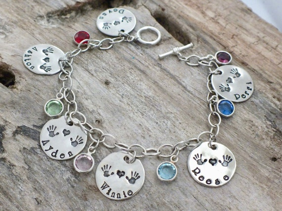 Mothers gift/Personalized Sterling Silver Birthstone Bracelet with Hand Stamped Names