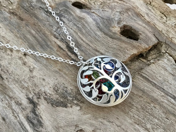 Mother Necklace with Birthstones/Mother Necklace Personalize/Tree of Life Necklace Sterling Silver/ Mom Gifts / Personalized Jewelry