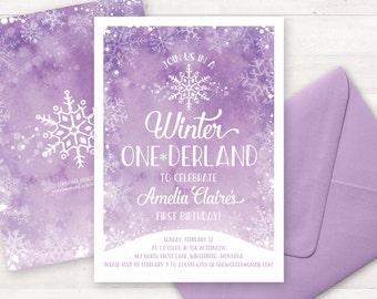 Winter Onederland Invitation, Lavender First Birthday Invitations, Printable Birthday Invitation, Girls or Boys, Watercolor Snowflake Invite