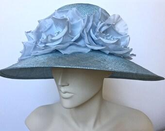 Kentucky Derby Hat Blue Wide Brim Handmade Flowers