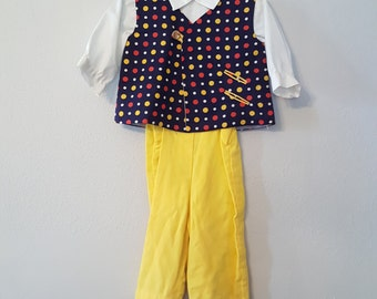 Vintage Boys Yellow Overalls, White Shirt, and Polka Dot Vest by C.I. Castro - Size 6-9 months- New, never worn